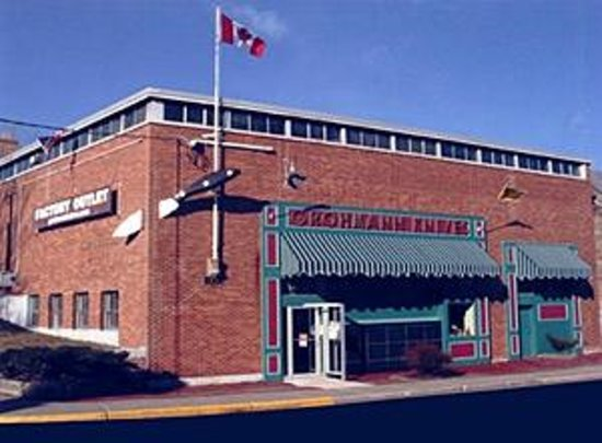 Pictou, Canada: See the huge Grohmann hunting knife going through the building!