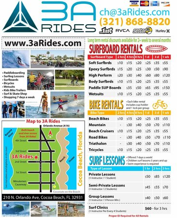 Map To Arides Bicycle Sup Surfboard Rentals Shop Cocoa Beach