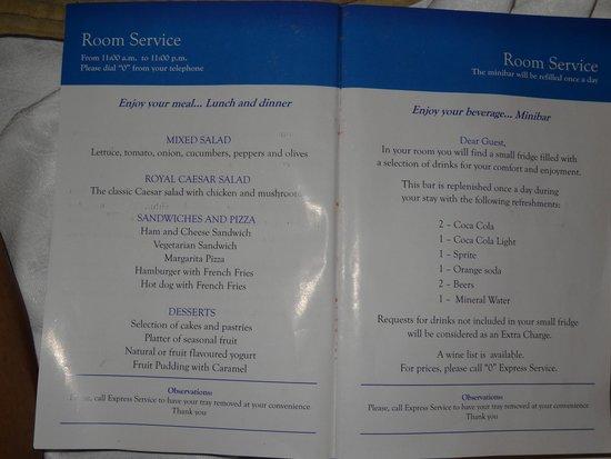 Grand Bahia Principe Jamaica Room Service Menu