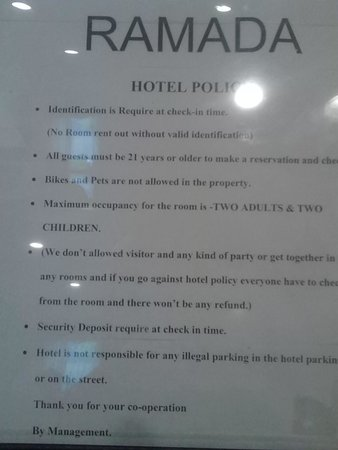 Ramada East Orange: Hotel Policy