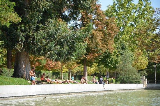 Parque del Retiro: ηλιοθεραπεια γυρω απο τη λιμνη