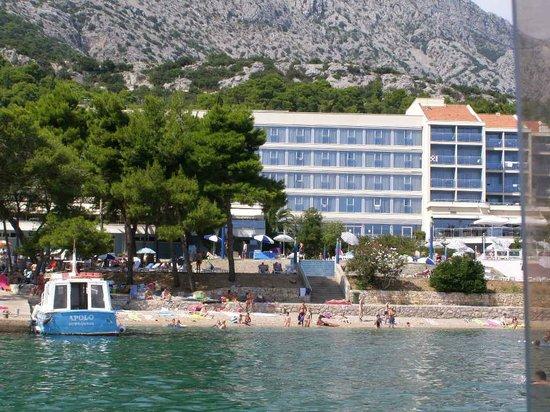 Aminess Grand Azur Hotel: Widok na hotel z łodzi