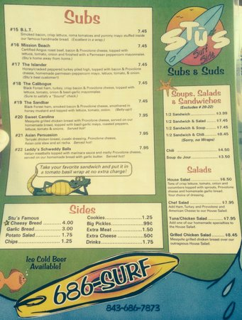 Stu's Surfside Subs: Menu (Front)