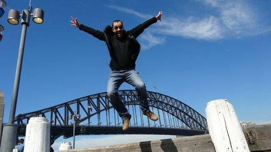 Bike Buffs - Sydney Bicycle Tours: Happy tour participiant posing for silly but fun photo :)