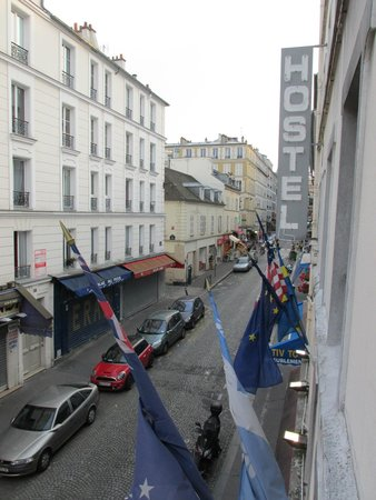 Le Village Hostel: View from our window of the street