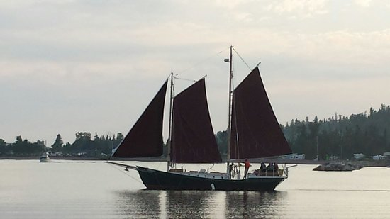 North House Folk School: The Hjordis setting out on a sunset sail.