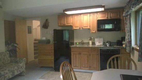 Attitash Mountain Village: Upstairs lockout unit kitchen and livingroom