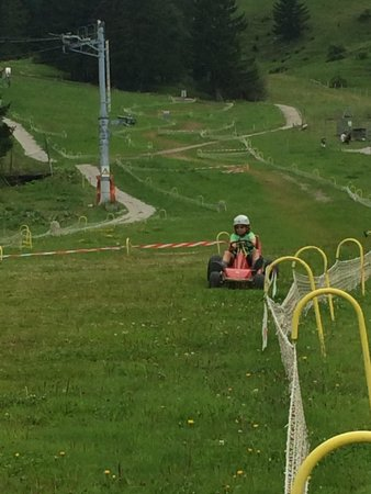 Moleson, Suiza: Cruising down the hill in the grass cart