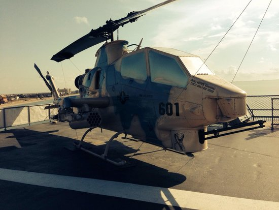 Cobra helicopter on deck of USS Lexington
