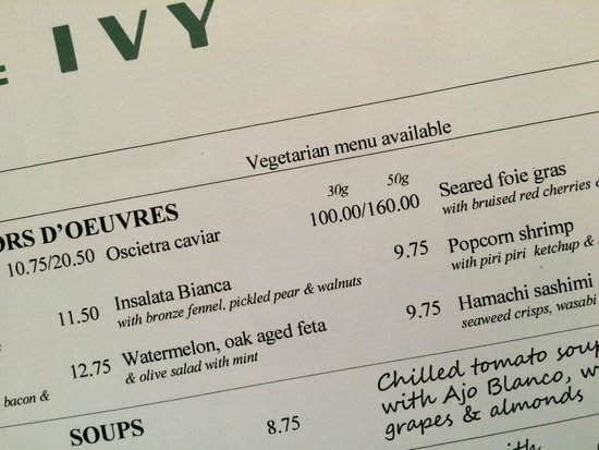 The Ivy: Snapshot of the Menu