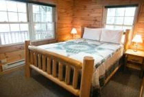 Pine Cove Lodging : Evergreen Log Cabin Bedroom
