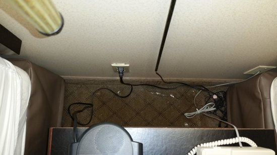 Holiday Inn Express Nashville Downtown: Behind the Nightstand; note electrical outlet