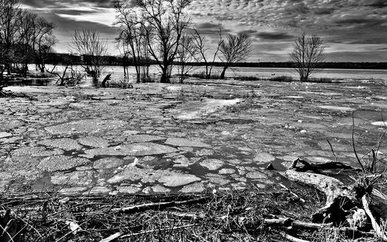 Sir John A. MacDonald Parkway: Early Spring- the melting ice in the river