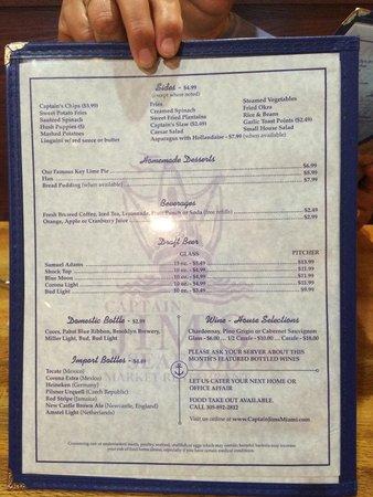 Captain Jim's Seafood Market Restaurant: New menu 8/14/14