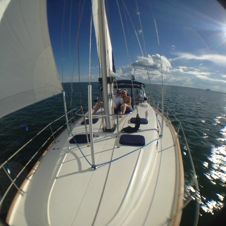 Miami Sailing - Private Day Charters: Comfortable and spacious foredeck of Beneteau 461