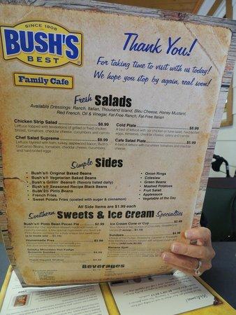 Menu Picture Of Bush S Family Cafe Bush Bean Plant