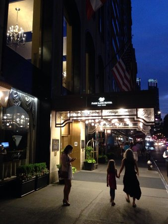 Park Lane Hotel at night.