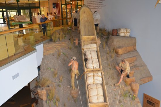 Lewis and Clark Interpretive Center: A diorama showing a canoe the expedition had to portage over 18 miles along the Missouri River
