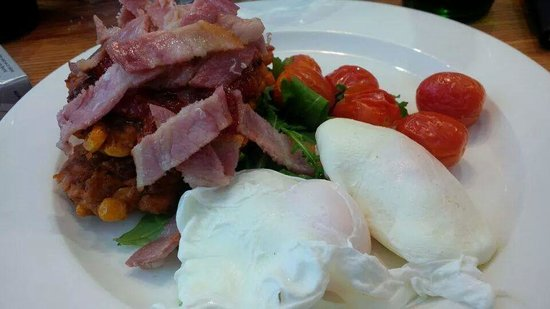 Merienda: Brunch - Corn Fritters with back bacon, poached eggs and vine tomatoes
