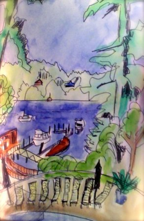 Brentwood Bay Resort & Spa: My sketch of our view at breakfast