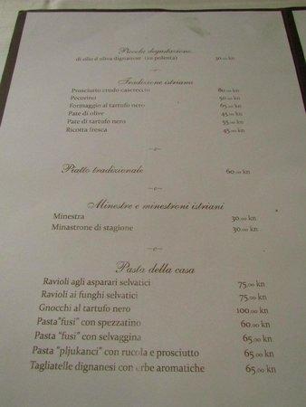 Vodnjanka: menu
