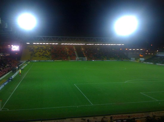 Watford, UK: Floodlights on for an evening match