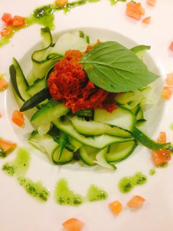 Absolute Sanctuary: Zucchini fettuccini with tomatoes pesto, Italians favourite