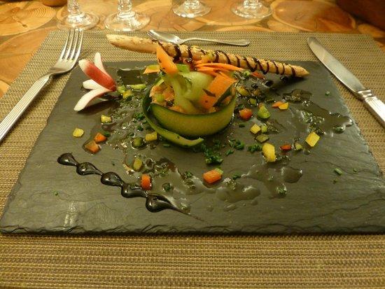 Le Campagnol: délicieux tartare de saumon, présentation soignée