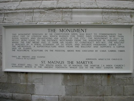 The Monument to the Great Fire of London : tM
