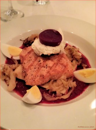 The Indigo Duck: Salmon with Beef and Egg