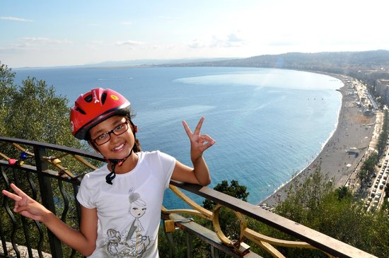 Nice Cycle Tours : view of Promenade des Anglais from Chateau Hill,