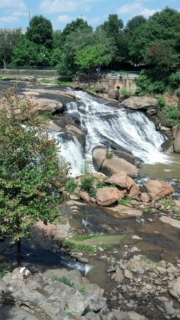 Falls Park on the Reedy: Falls as seen from bridge.