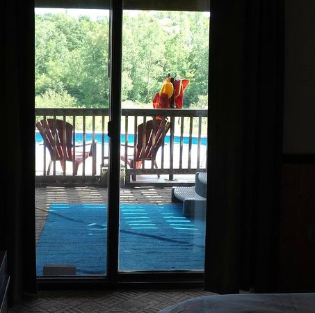 Sunnybrook Farm Garden-level Guest Suite: The view of the pool from the master bedroom