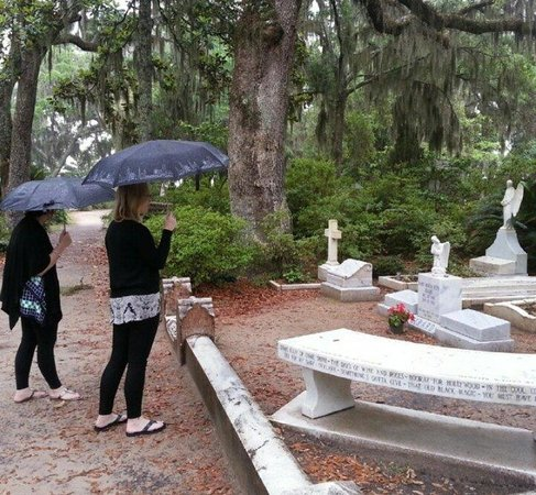 Bonaventure Cemetery: The Johnny Mercer gravesite.  The bench has names of his songs.  The small angel marker is recen