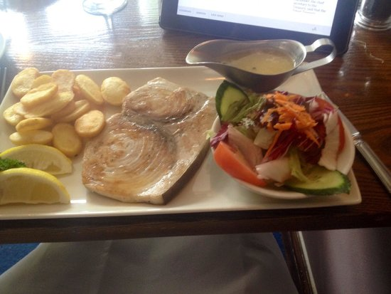 The Lobster Pot: Excellent lunch special for £8.95, grilled swordfish with garlic & white wine sauce.