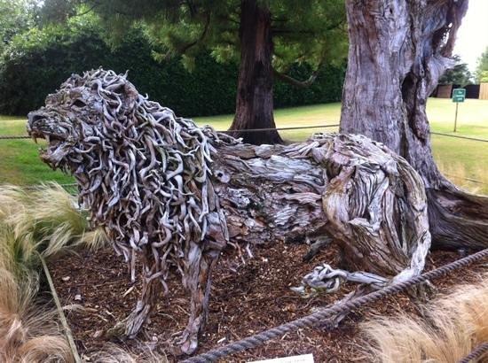 The Oakley Court: sculpture made of drift wood