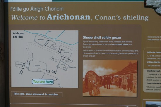 Arichonan Clearance Village: The descriptive sign