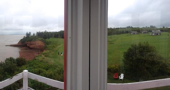 Shangri-la Cottages: A view from the historic Burntcoat Head lighthouse with the cottages on the right