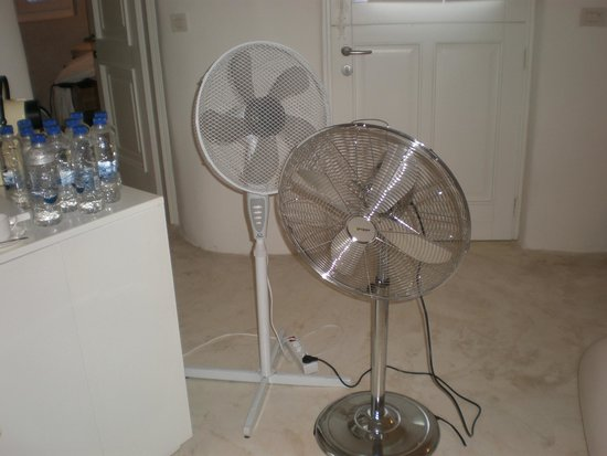 Mystique Luxury Collection Hotel: 2 of the 3 fans needed to keep us cool