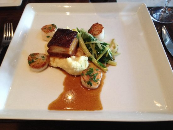 Lot 30 Restaurant: My pork belly and scallops surf and turf meal. Yum!