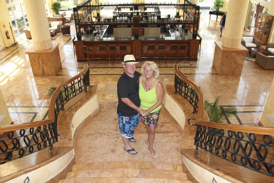 Excellence Riviera Cancun: me and my partner on the great shiny walk up the lobby stairs