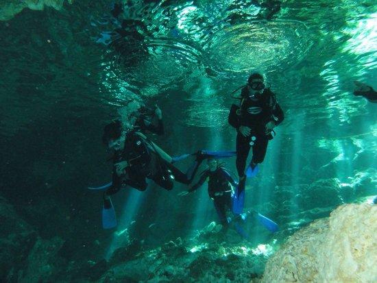 Taj Mahal Cenote: Início mergulho