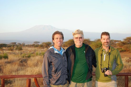 Sentrim Amboseli: My sons and I with Mt. Kilimanjaro in background