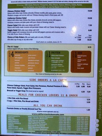 California Chicken Cafe : Menu as of Aug 14, 2014
