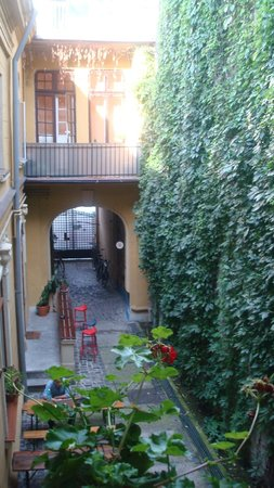 Umbrella Hostel: view from the room , very nice garden