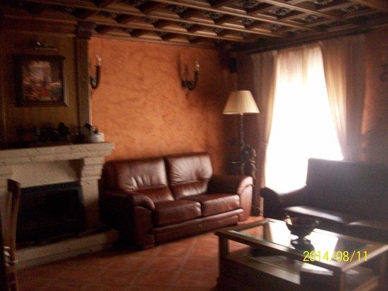 Hostal Rural Los Telares: sala de estar con television libros