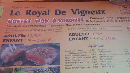 Vigneux-sur-Seine, Prancis: Cet de table. Tarifs