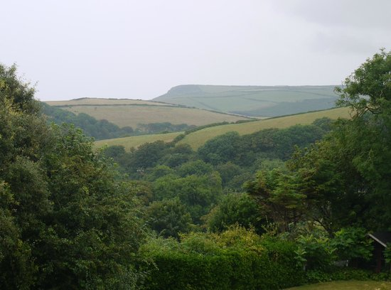 Boscastle House: View from entrance over gardens