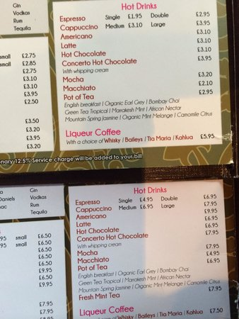 Caffe Concerto : SCAM: These are 2 of the same menu but with very different prices. Please be careful,don't let t