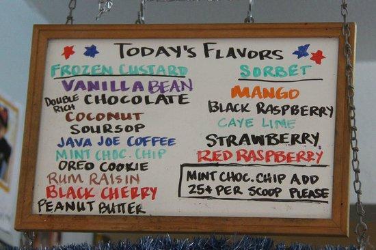 DandE's Frozen Custard & Sorbet : Inside board detailing favors for the day